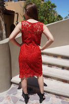 Wishful Wanderings Red Crochet Lace Shift Midi Dress 3