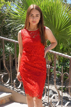 Wishful Wanderings Red Crochet Lace Shift Midi Dress 1