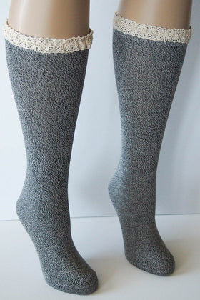 Women's Lace Trimmed Heathered Boot Socks 1