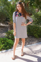 Work The Bloom Navy Blue Stripe And Floral Print Shift Dress 4