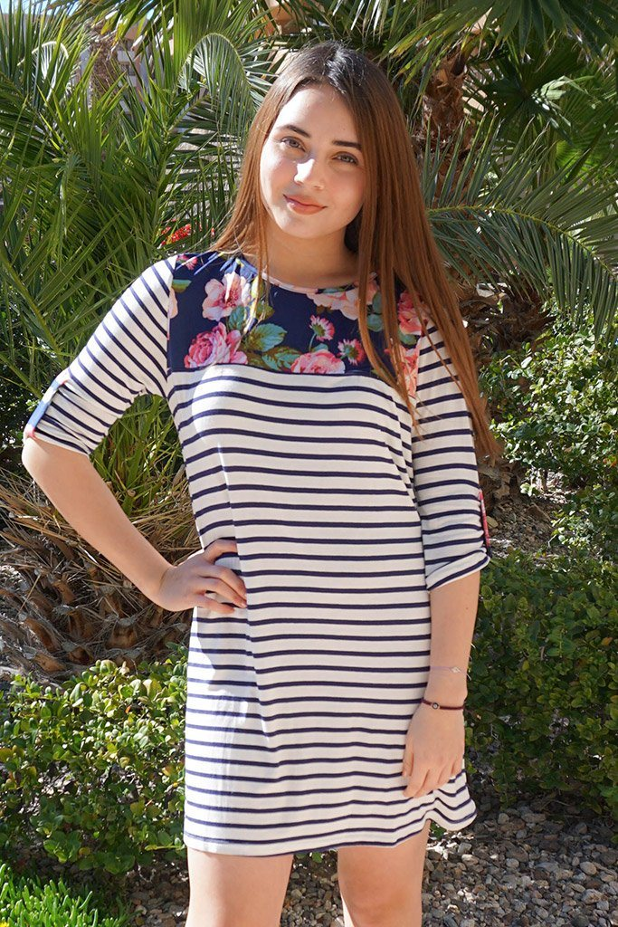 Work The Bloom Navy Blue Stripe And Floral Print Shift Dress 1