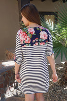 Work The Bloom Navy Blue Stripe And Floral Print Shift Dress 3