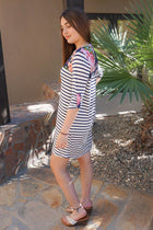 Work The Bloom Navy Blue Stripe And Floral Print Shift Dress 2