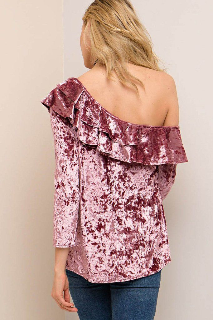 Worth It Mauve Velvet Ruffled One Shoulder Top 2
