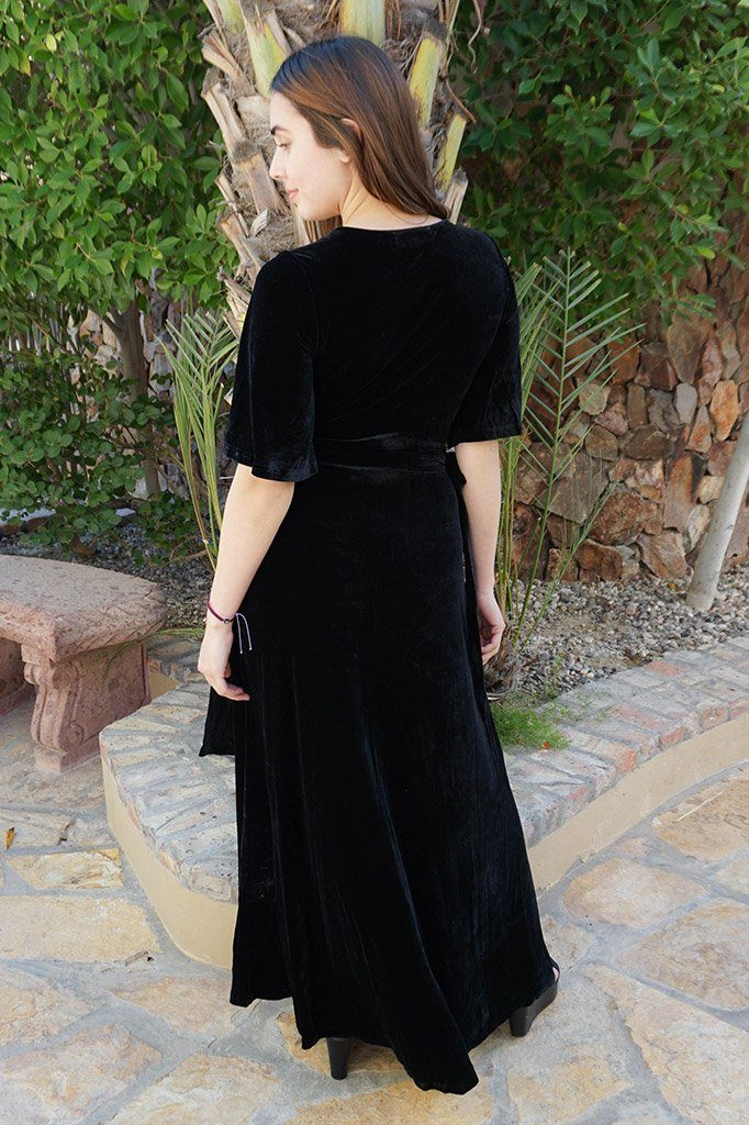 Wrapped In Luxe Black Velvet High Low Maxi Dress 3