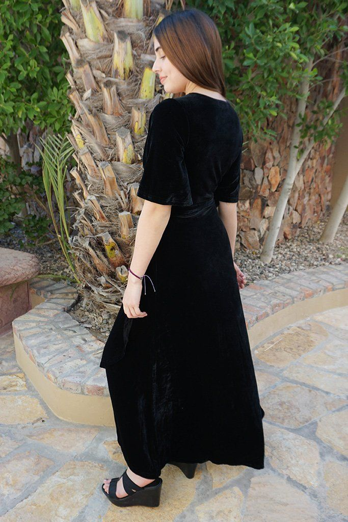 Wrapped In Luxe Black Velvet High Low Maxi Dress 2