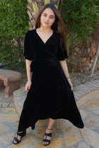 Wrapped In Luxe Black Velvet High Low Maxi Dress 1