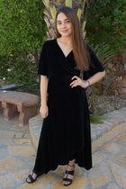 Wrapped In Luxe Black Velvet High Low Maxi Dress 4