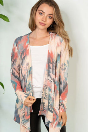 Write Your Story Coral Teal Aztec Cardigan 1