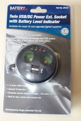 Twin USB/DC Power Extension Socket with Battery Level Indicator