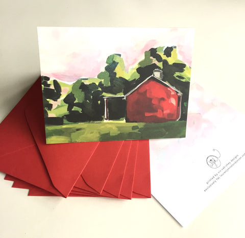 Red Barn at Dusk Cards