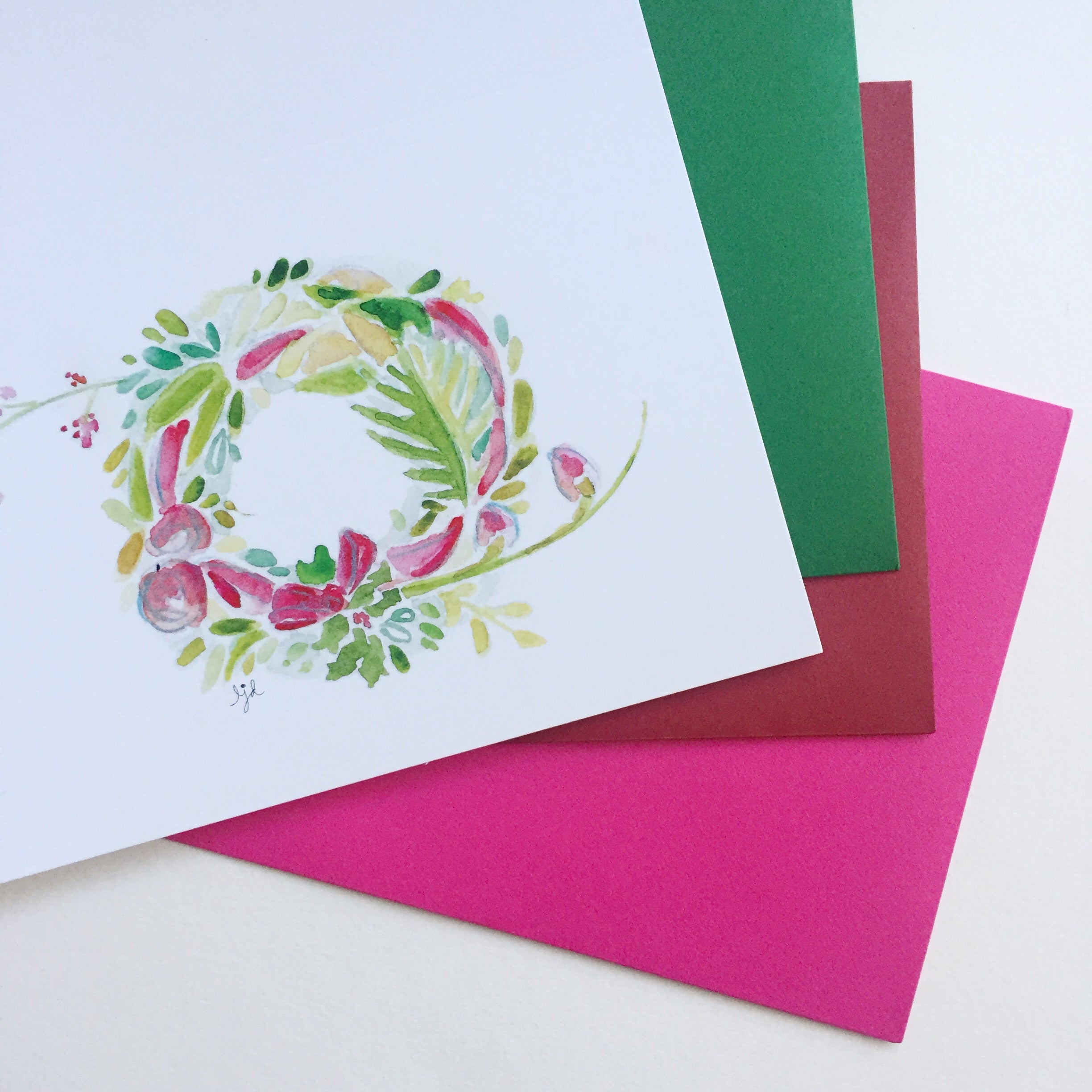 Watercolor Christmas Wreath Cards
