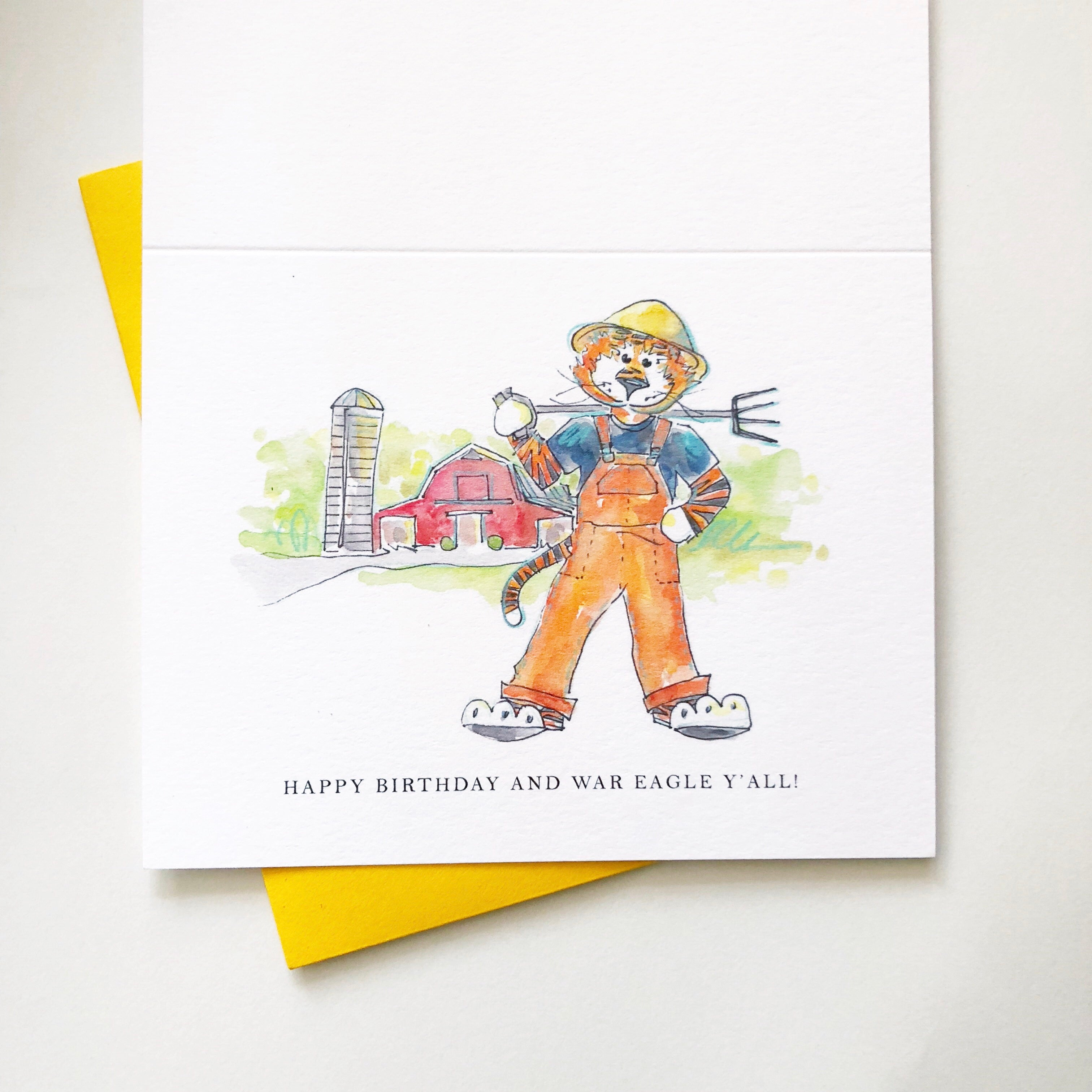 Aubie with Red Barn Birthday Card