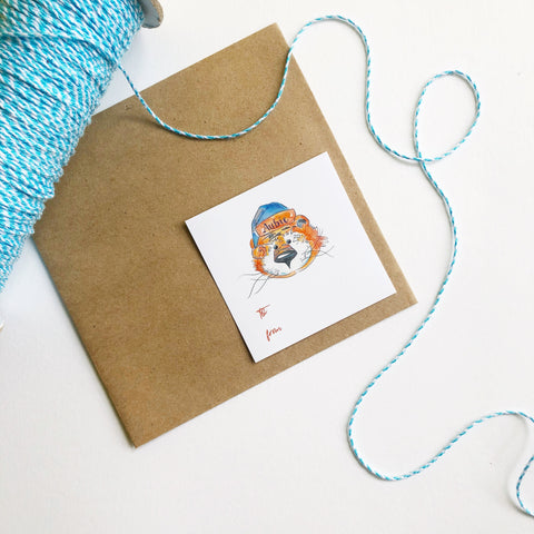 Aubie Claus 3 Inch Gift Sticker Tags