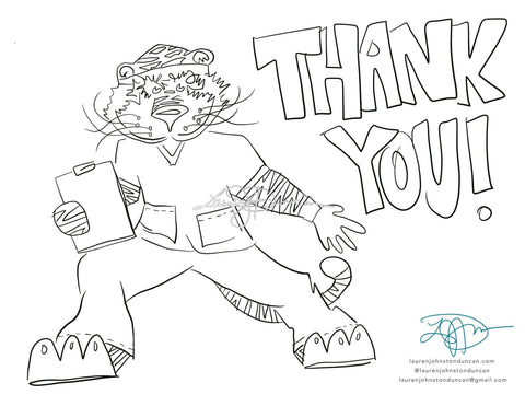 Medical Worker Aubies! Aubie In Scrubs Free Downloadable Coloring Sheet