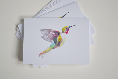 Watercolor Hummingbird Cards in Pink