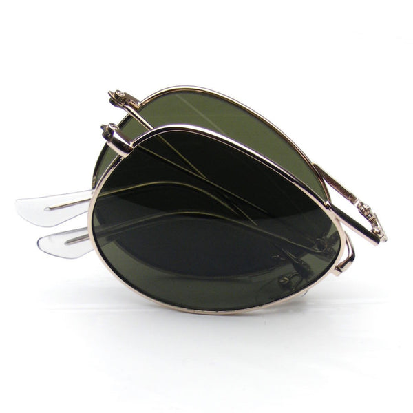 2 X 1 Aviator Sunglasses - Pocket (Green/Silver)