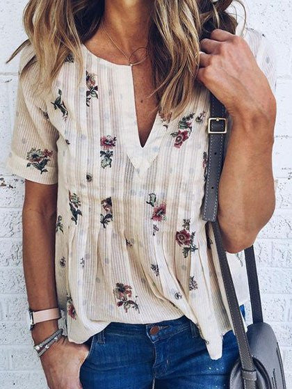 Stasia Casual Daily V neck Floral Print Top