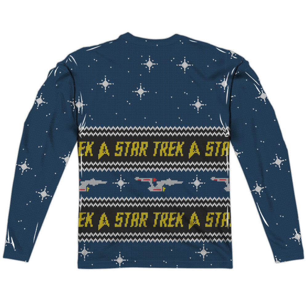 STAR TREK KIRK SWEATER (FRONT/BACK PRINT)  ADULT POLY CREW