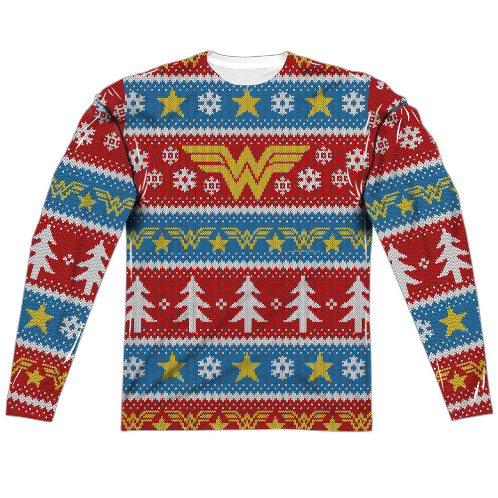 WONDER WOMAN HOLIDAY (FRONT/BACK PRINT)-ADULT POLY CREW