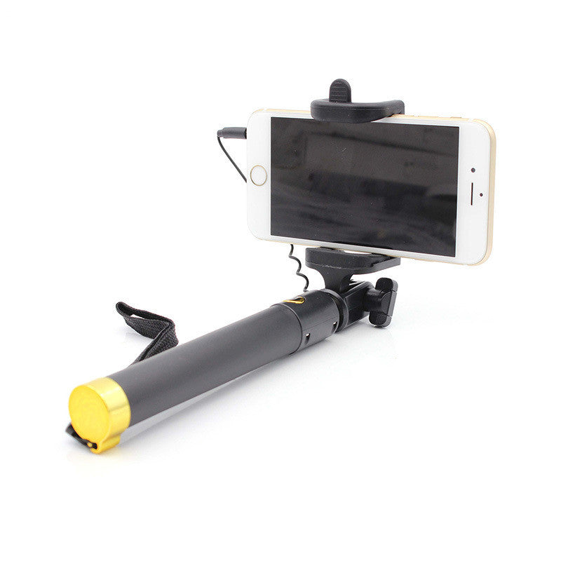 Compact Selfie Stick (Wired Control Support) Universal Compatibility for Iphone 6 Android Phones