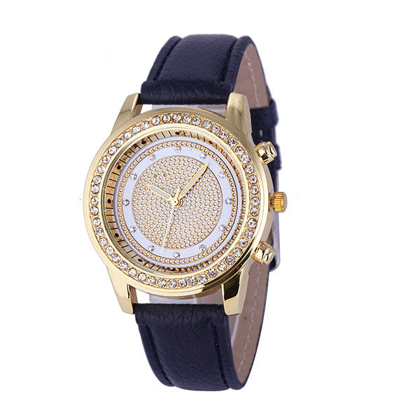 Ladies Crystal Geneva Fashion Stainless Steel Quartz Wristwatch