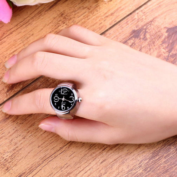 Creative Fashion Steel Round Elastic Quartz Finger Ring Watch