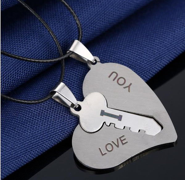 I Love You Matching Hearts Key Couple Necklace Set Pendant Necklace