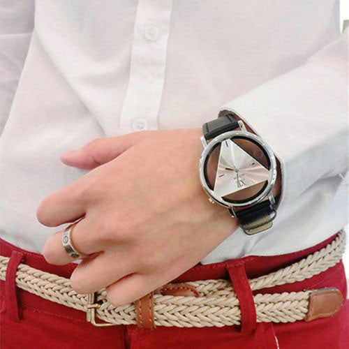Leather Band Stainless Steel Analog Quartz Unisex Fashion Watch