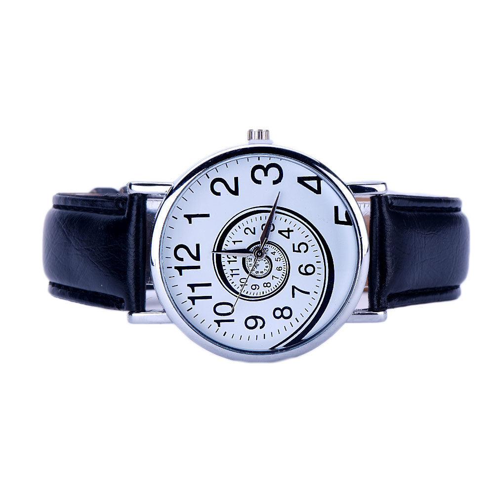 Ladie's Time Swirl Leather Analog Quartz WristWatch