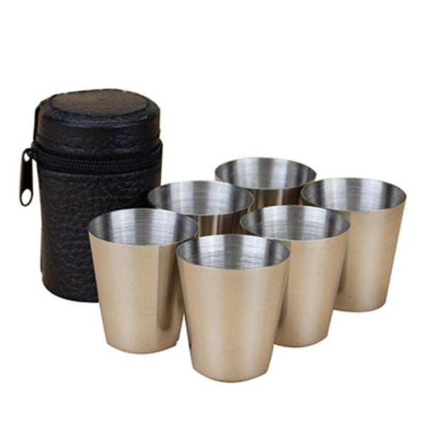 6 Pcs. Stainless Steel Cups Wine Beer Whiskey Mugs Travel Cups Set