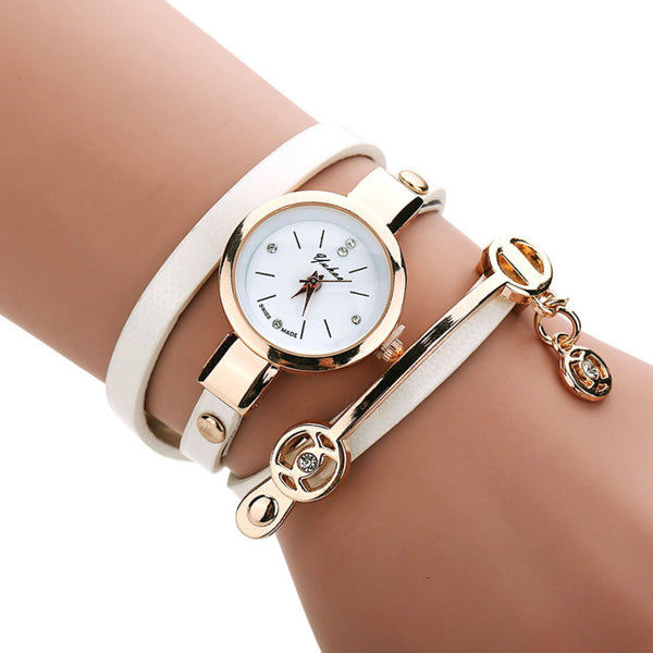 Fashion Leather Wrist Bracelet Quartz Watch