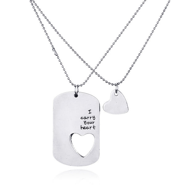 I Carry Your Heart With Me Puzzle Pendant Necklace Set