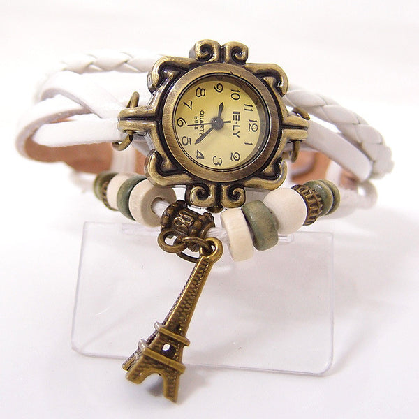 Fashion Eiffel Tower Leather Watch Bracelet