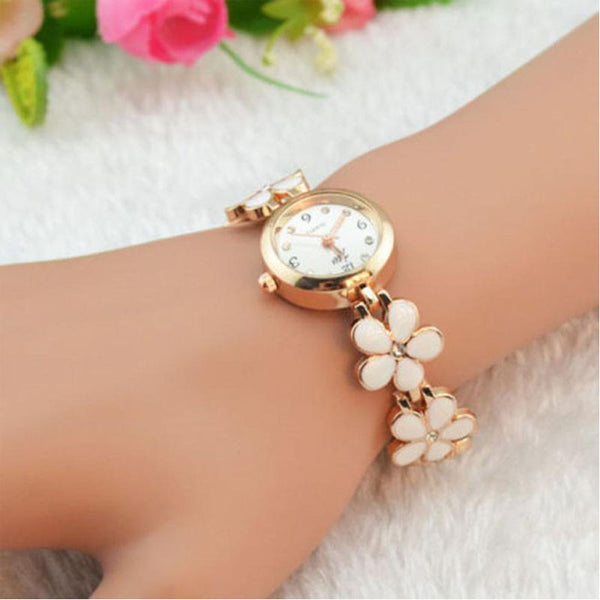 Daisies Flower Rose Gold Watch Bracelet