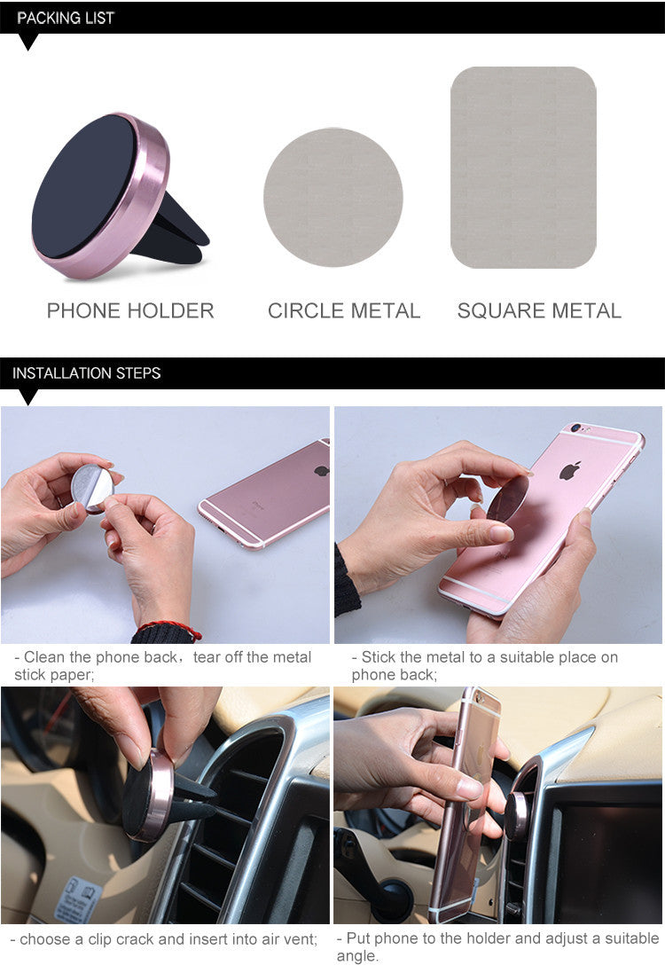 Magnetic Mobile Phone Support Car Mount Holder For Your iPhone 5 6S Samsung S5