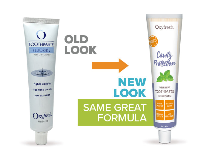 Oxyfresh - Cavity Protection Fluoride Toothpaste old look to new packaging
