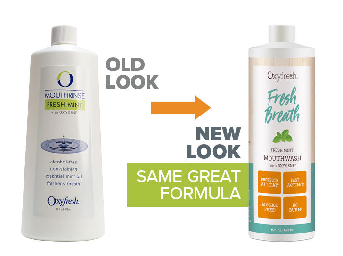 Oxyfresh - Mint Fresh Breath Mouthwash old look to new packaging