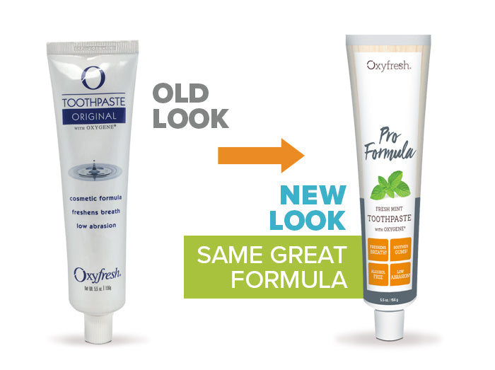 Oxyfresh - Pro Formula Cosmetic Toothpaste old look to new packaging