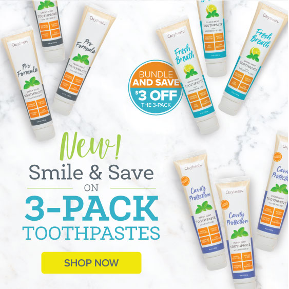 Oxyfresh low abrasive toothpastes and alcohol free mouthwash