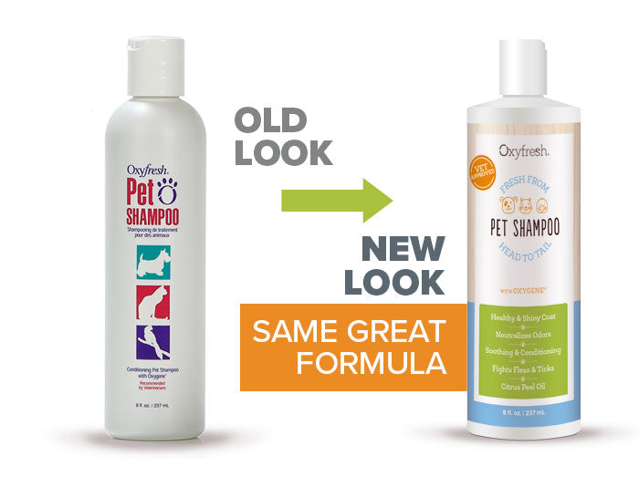 Oxyfresh - Pet Shampoo old look to new packaging