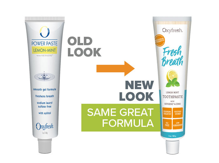 Oxyfresh - Lemon Mint Fresh Breath Toothpaste old look to new packaging