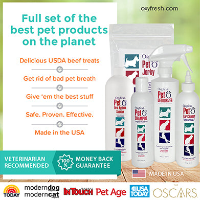 Oxyfresh - Complete line of Oxyfresh pet products, non-toxic, safe, made in USA, dental health, clean dog or cat, happy pet - The Ultimate Tail Wagger