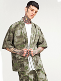 Japanese Kimono Inspired Lightweight Jacket for Men | CAMOUFLAGE - d'143 Men's Clothing
