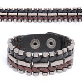 Oyster Steel Twisted Leather Bracelet - d'143 Men's Clothing