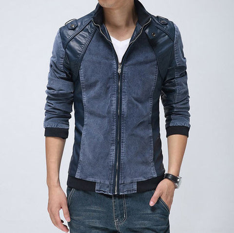 Leather Over Velvet Denim Stitched Jacket - d'143 Men's Clothing