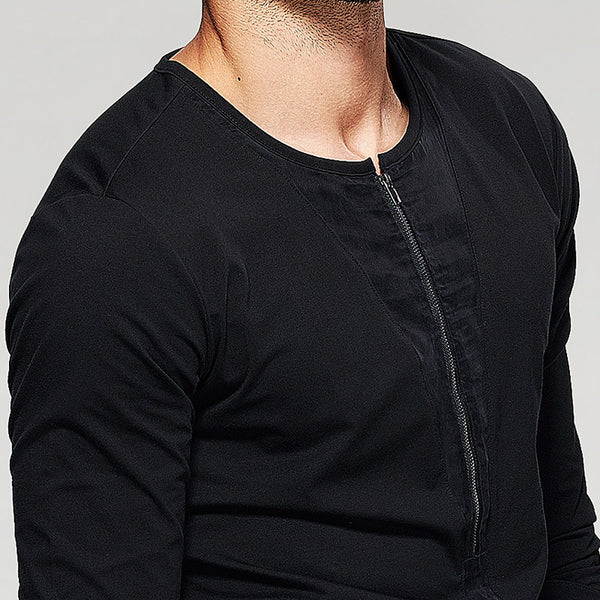 Plunging Zipper Front Long Sleeved Shirt - d'143 Men's Clothing