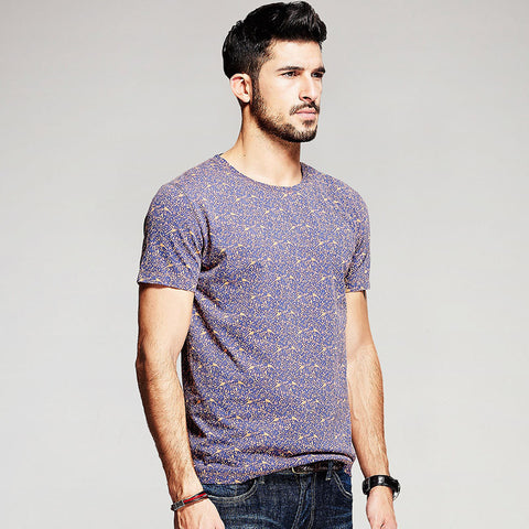 Purple Summer Birds Print Short Sleeve T-Shirt - d'143 Men's Clothing