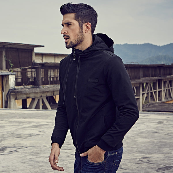 Casual Black Solid Zipper Hooded Zippered Jacket - d'143 Men's Clothing