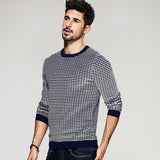 Plaid Contrast Knitted Pullover Sweater - d'143 Men's Clothing